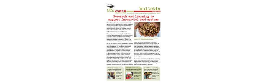 Biowatch Bulletin: December 2015